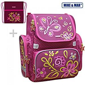 Школьный рюкзак Mike&Mar Майк Мар Лето (малин) 1074-ММ-131 + мешок для обуви + пенал