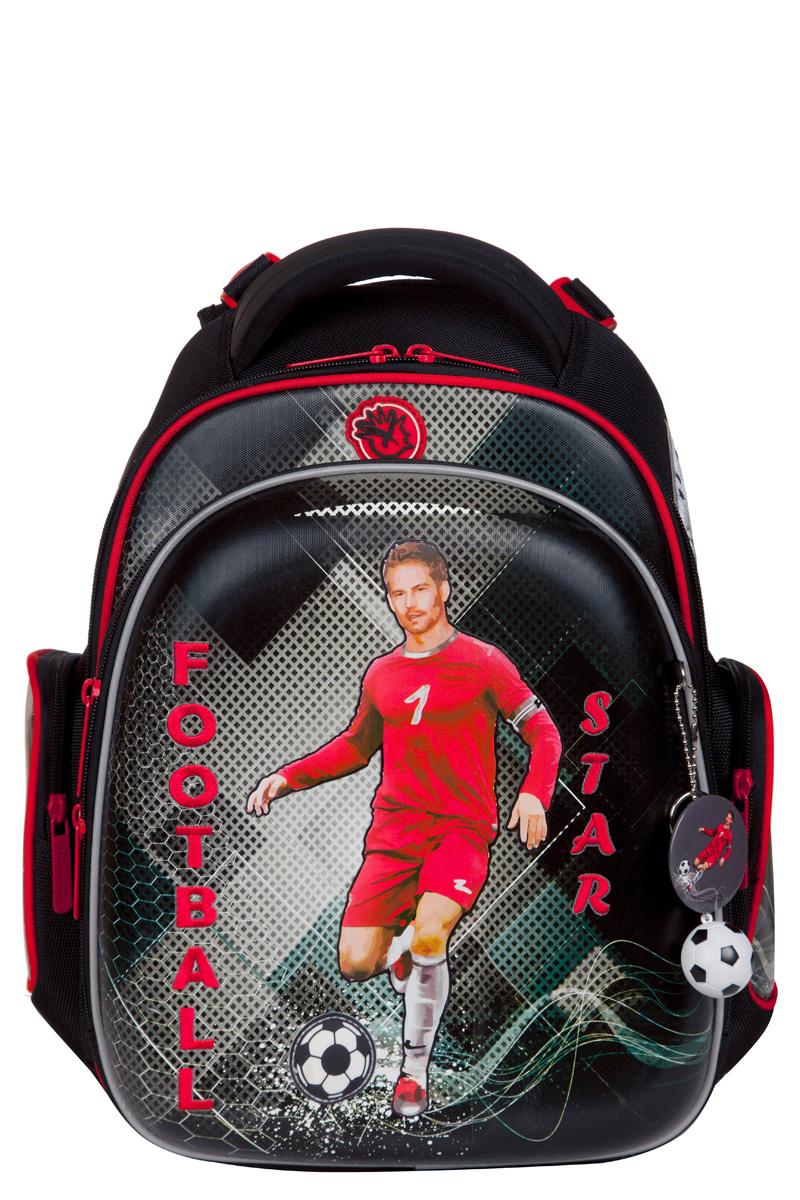 Ранец для первоклассника Hummingbird TK60 Футбол серый с мешком для обуви + пенал, - фото 2